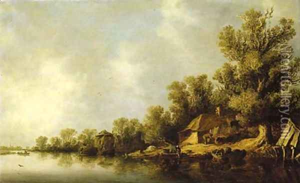 A wooded river landscape with fisherfolk and peasants by a cottage Oil Painting - Jan van Goyen