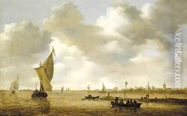 An estuary with passengers in a ferry, a kaag and other shipping by a mudflat, a village beyond Oil Painting - Jan van Goyen