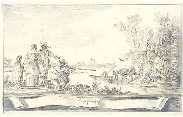 Elegant company shooting birds in an estuary Design for a title-page Oil Painting - Jan van Goyen