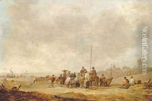 Fishermen with their catch and townsfolk on the beach at Katwijk aan Zee Oil Painting - Jan van Goyen