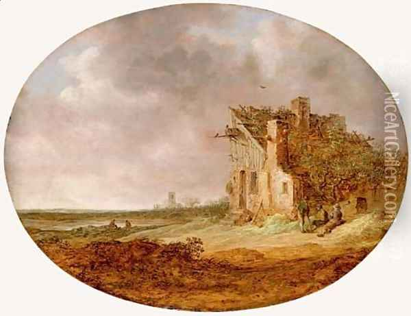 Le Pigeonnier An extensive landscape with peasants sitting on a bank by a dilapidated cottage Oil Painting - Jan van Goyen