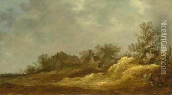 Travellers resting on a track, a village in the distance Oil Painting - Jan van Goyen
