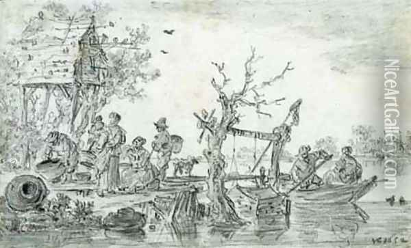 Villagers by a dovecote at a ferry station Oil Painting - Jan van Goyen