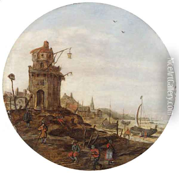 Villagers skating on a frozen waterwaybefore a church Oil Painting - Jan van Goyen