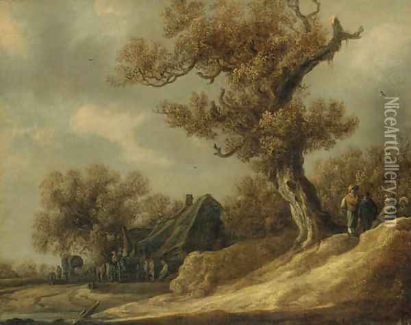 A dune landscape with peasants talking under a tree, an inn with travellers beyond Oil Painting - Jan van Goyen