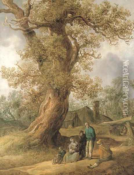 A family of peasants sitting under an oak tree with cottages in the distance Oil Painting - Jan van Goyen
