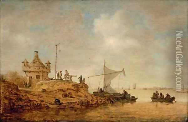 A river landscape with a ferry crossing and peasants by a cannon Oil Painting - Jan van Goyen
