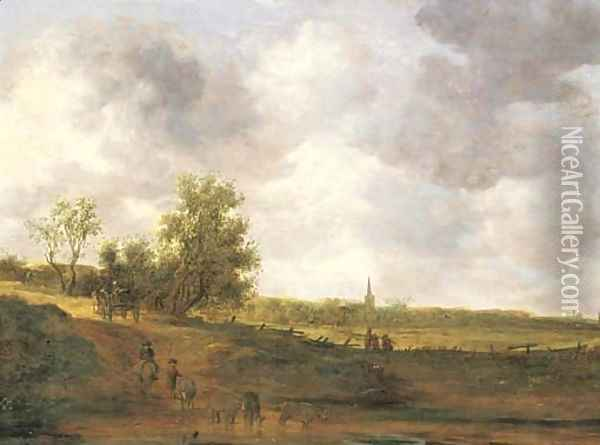 A rural landscape with peasants and a drover by a track, a village beyond 2 Oil Painting - Jan van Goyen