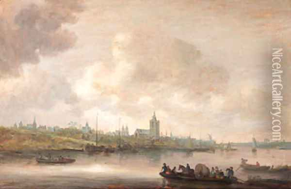 A view of Arnhem with fishermen in rowing boats in the foreground Oil Painting - Jan van Goyen