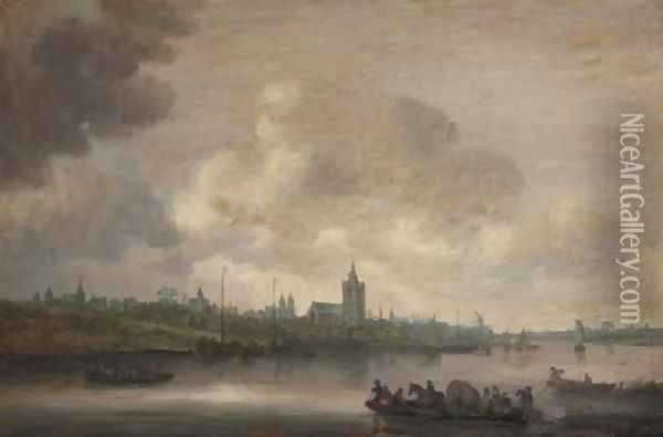 A view of Arnhem with fishermen in rowing boats in the foreground 2 Oil Painting - Jan van Goyen
