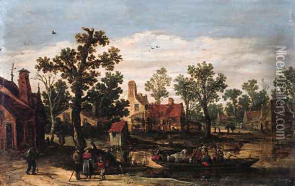A village by a river with peasants and cattle on a ferry setting out from a landing stage, in summer Oil Painting - Jan van Goyen