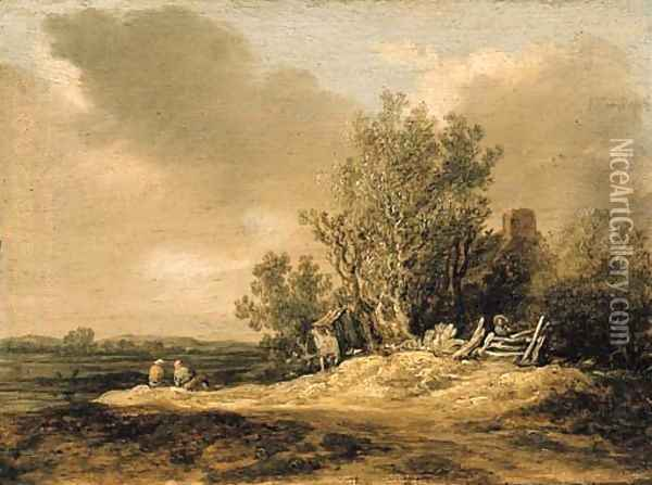 A wooded landscape with figures on a path Oil Painting - Jan van Goyen