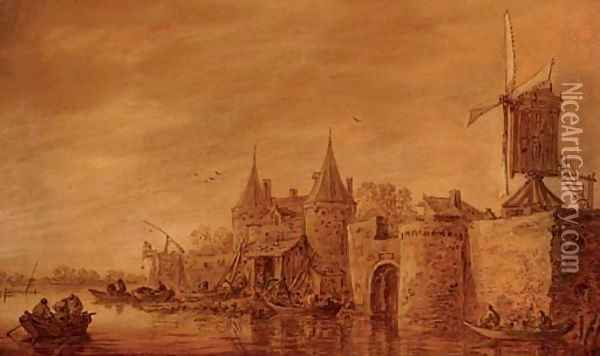 Fortifications and a windmill along a river Oil Painting - Jan van Goyen