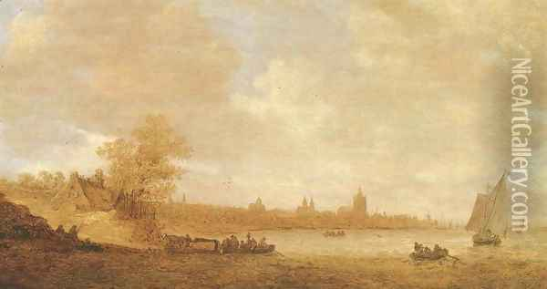 A cattle ferry and other shipping on the river Rhine, with the city of Arnhem beyond Oil Painting - Jan van Goyen