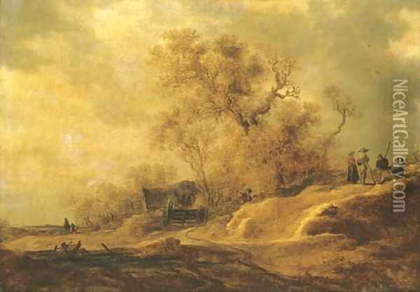 A dune landscape with peasants by a track 2 Oil Painting - Jan van Goyen