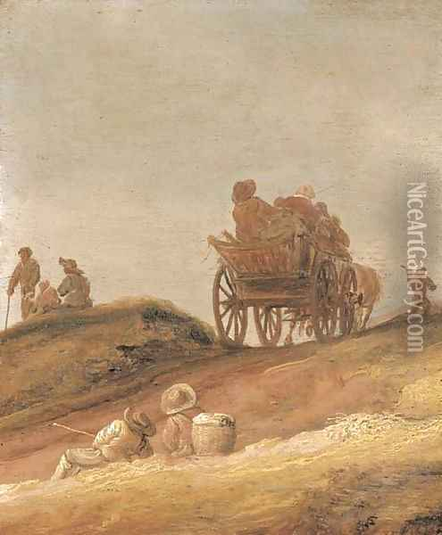 A dune landscape with peasants in a horsedrawn cart and travellers resting on a path Oil Painting - Jan van Goyen
