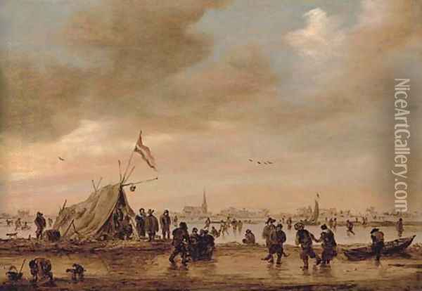 A frozen river landscape with villagers skating on a waterway Oil Painting - Jan van Goyen