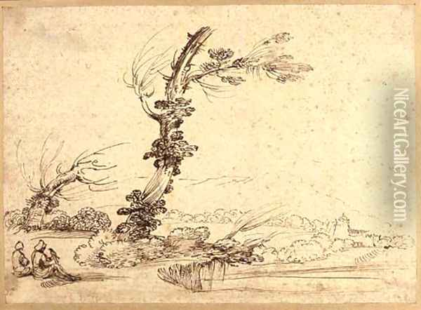 A landscape with falconers by a tree Oil Painting - Giovanni Francesco Barbieri