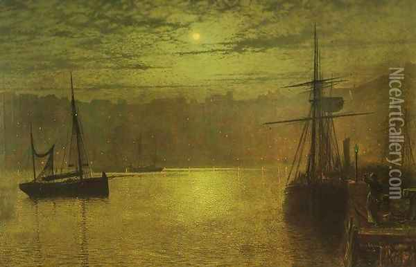 Lights in the Harbour Oil Painting - John Atkinson Grimshaw