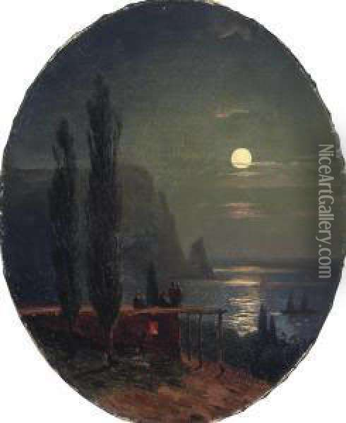 View Of The Crimea By Moonlight Oil Painting - Ivan Konstantinovich Aivazovsky
