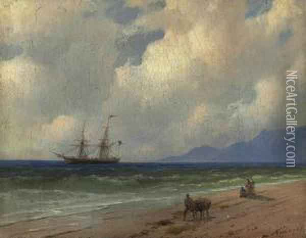 On The Shore Oil Painting - Ivan Konstantinovich Aivazovsky