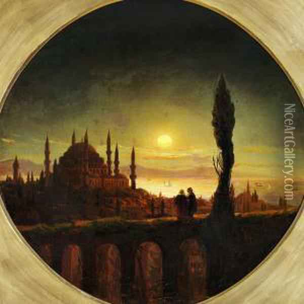 Sunset Over Hagia Sophia In Constantinople Oil Painting - Ivan Konstantinovich Aivazovsky