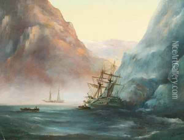 A Shipwrecked Vessel Oil Painting - Ivan Konstantinovich Aivazovsky