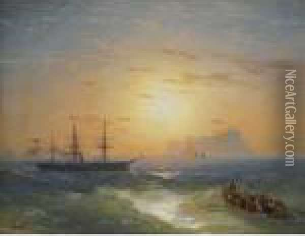 Shipping Off Ischia Oil Painting - Ivan Konstantinovich Aivazovsky