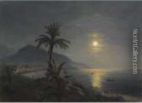 Moonlit Sea With Palm Trees Oil Painting - Ivan Konstantinovich Aivazovsky