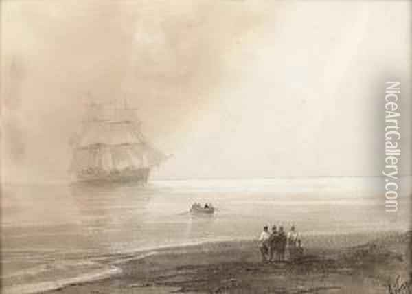 A Brig Anchored Offshore Oil Painting - Ivan Konstantinovich Aivazovsky