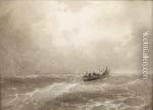 A Lifeboat In Peril Oil Painting - Ivan Konstantinovich Aivazovsky