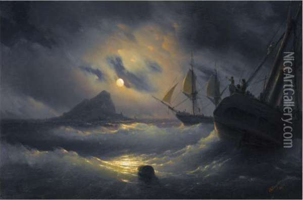 Gibraltar By Night Oil Painting - Ivan Konstantinovich Aivazovsky