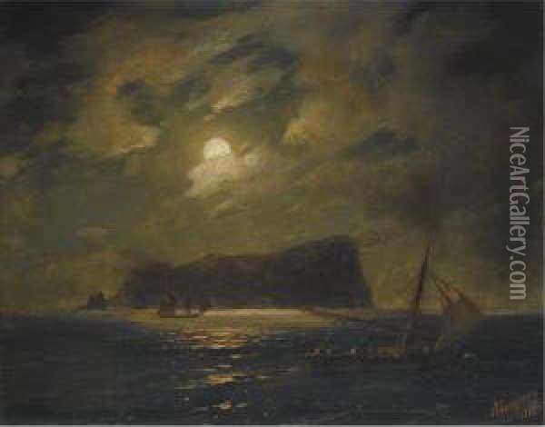 Shipping Off The Island Of Ischia Oil Painting - Ivan Konstantinovich Aivazovsky