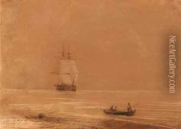 Coming To Shore Oil Painting - Ivan Konstantinovich Aivazovsky