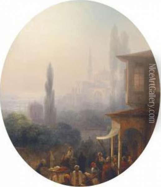 A Market Scene In Constantinople, With The Hagia Sophiabeyond Oil Painting - Ivan Konstantinovich Aivazovsky