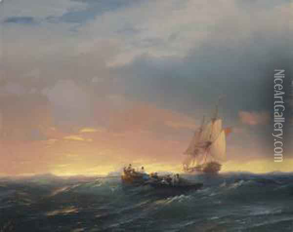 Vessels In A Swell At Sunset Oil Painting - Ivan Konstantinovich Aivazovsky