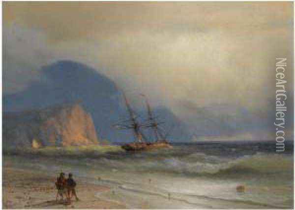 Shipping Off The Ayu Dag Oil Painting - Ivan Konstantinovich Aivazovsky
