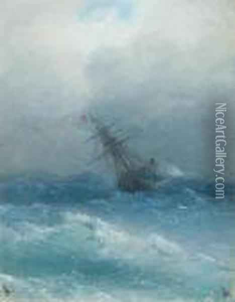 Sailing Ship On A Stormy Sea. Oil Painting - Ivan Konstantinovich Aivazovsky