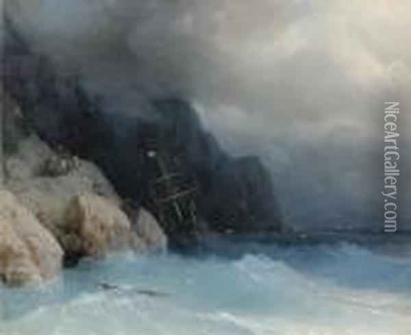 Survivors Of A Shipwreck On A Rocky Path Oil Painting - Ivan Konstantinovich Aivazovsky