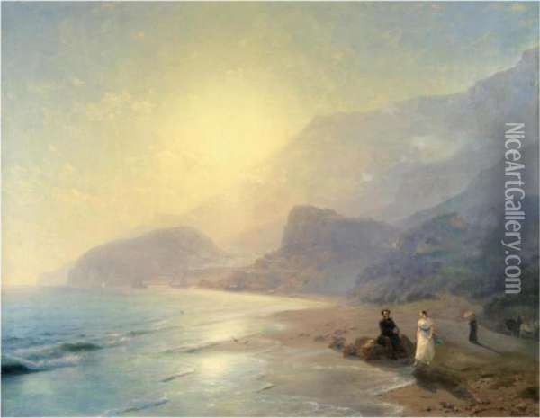 Pushkin And Countess Raevskaya By The Sea Near Gurzuf Andpartenit Oil Painting - Ivan Konstantinovich Aivazovsky