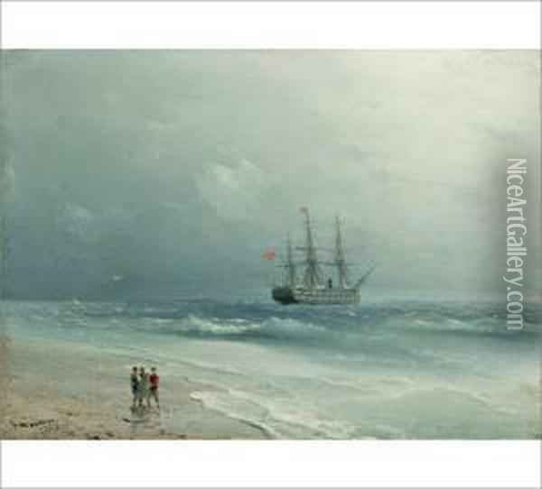 A Turkish Sailing Boat By The Coast Oil Painting - Ivan Konstantinovich Aivazovsky