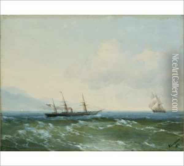 Sailing Ships At The Sea Oil Painting - Ivan Konstantinovich Aivazovsky