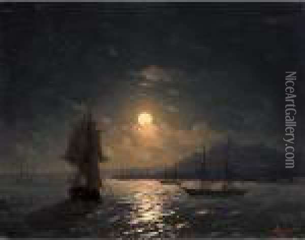 Shipping On A Moonlit Coast Oil Painting - Ivan Konstantinovich Aivazovsky