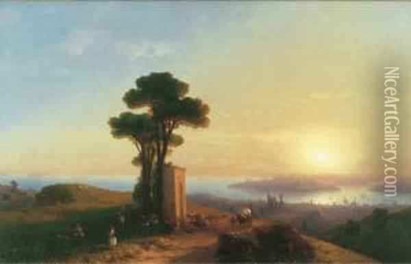 View Of Constantinople Oil Painting - Ivan Konstantinovich Aivazovsky