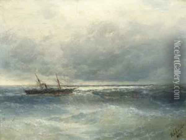 Seascape With Boat Oil Painting - Ivan Konstantinovich Aivazovsky