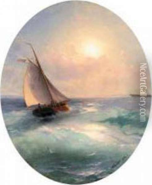 Sailing Boat At Sunset Flying The Russian Tricolour Oil Painting - Ivan Konstantinovich Aivazovsky