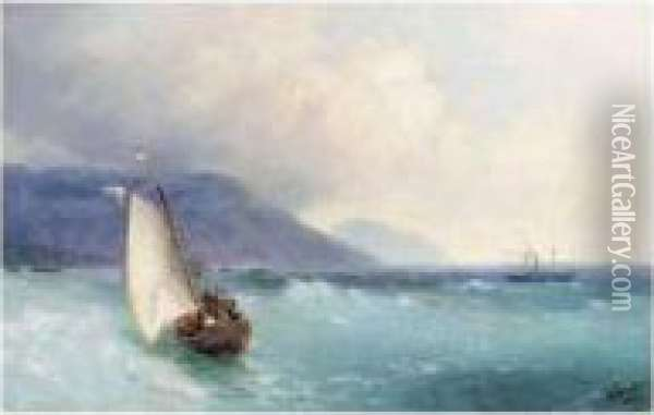 Swimmers Off The Beach Of Theodosia Oil Painting - Ivan Konstantinovich Aivazovsky