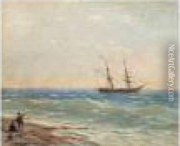Ship By The Shore Oil Painting - Ivan Konstantinovich Aivazovsky