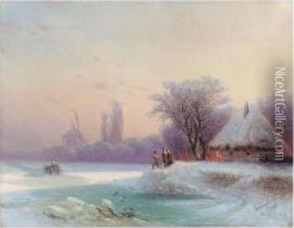 The Perils Of Winter Travel In The Russian Provinces Oil Painting - Ivan Konstantinovich Aivazovsky