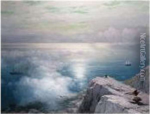 Signed L.r. And Dated 1884, Signed Again On The Reverse Oil Painting - Ivan Konstantinovich Aivazovsky